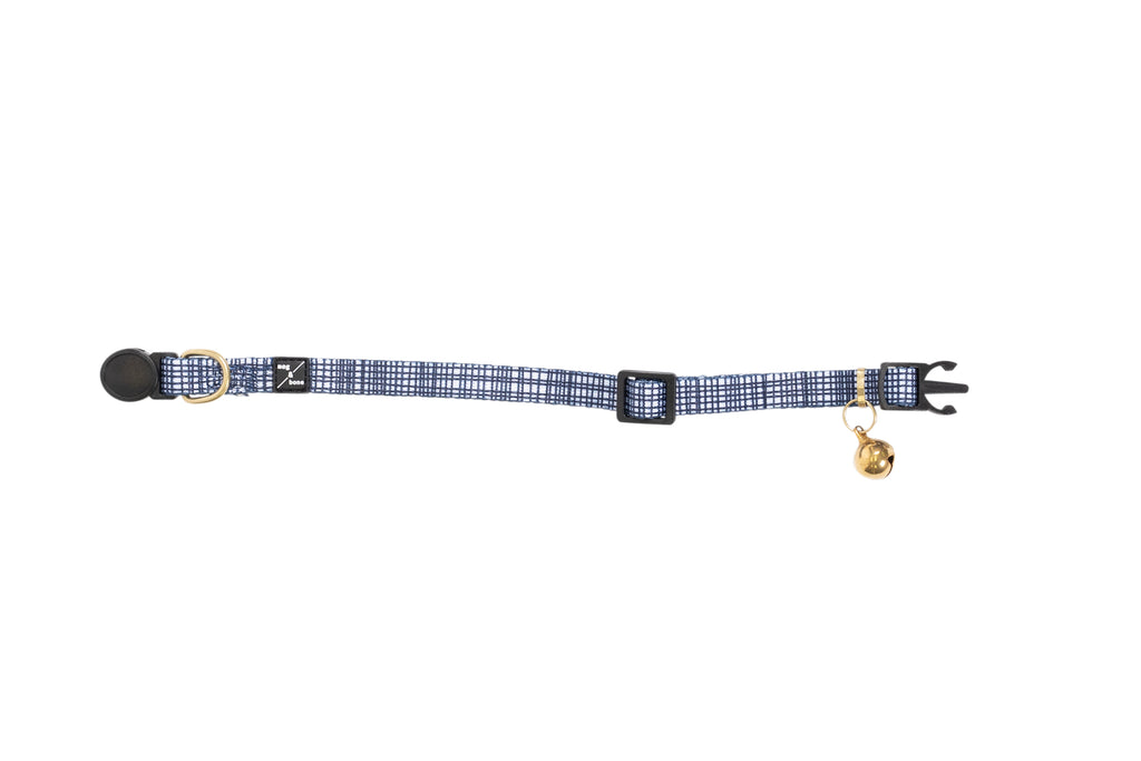 Cat Collar - Navy Linen Print
