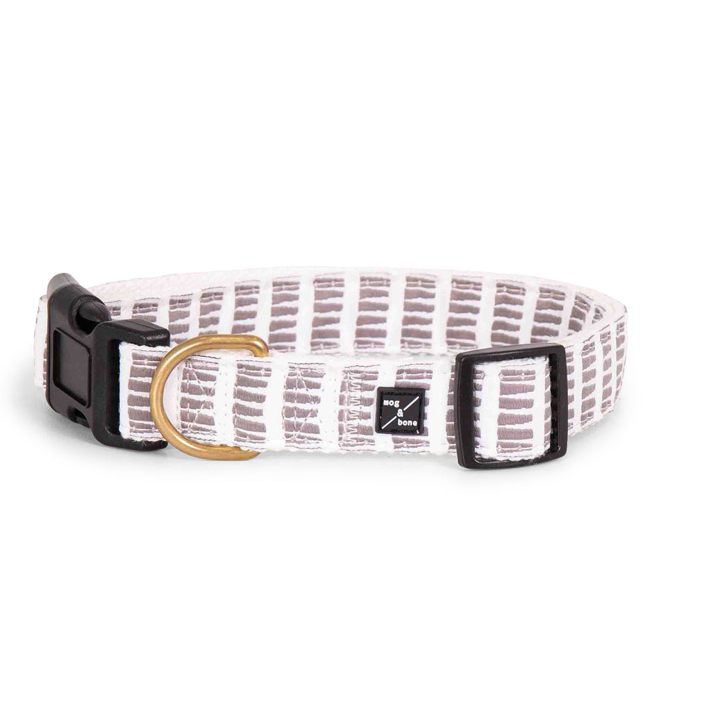 Hemp dog collar - Latte Mosaic Print