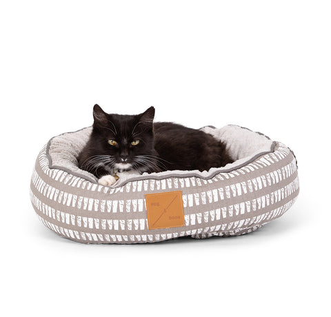 Reversible Cat Bed - Latte Inverse Mosaic Print