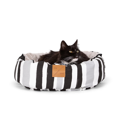 Reversible Cat Bed - Pebble Black Brush Stroke Print