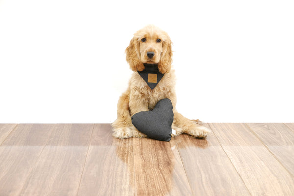 Heart Shaped Soft Toy - Black Denim