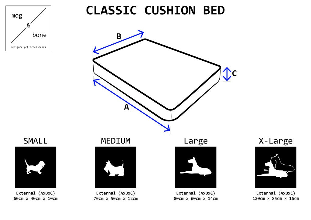 Classic Cushion Bed - Latte Mosaic Print