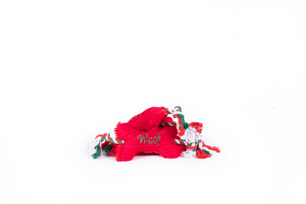 """WOOF"" Christmas Plush Bone Toy"