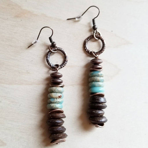 Aqua Terra and Wood Earrings