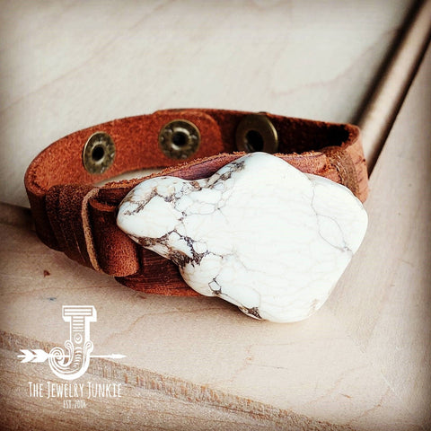 White Turquoise Chunk on Narrow Leather Cuff