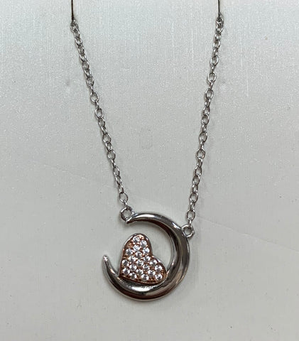 Sterling Silver Rose Gold Cz. Heart Necklace