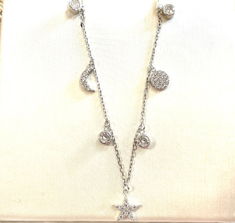 24K White Gold Over Sterling Silver Moon And Star Cz. Necklace