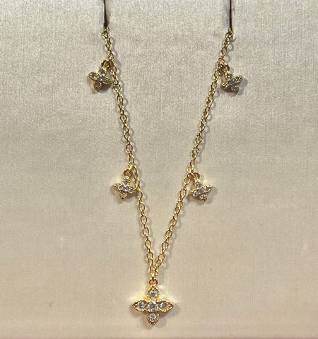 Multi Cross Cz. 24k Gold Over Sterling Necklace