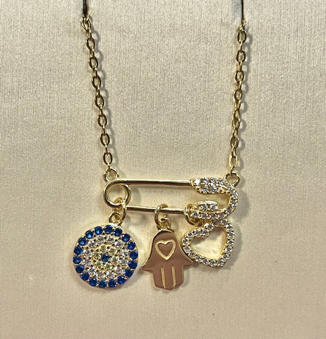 Evil Eye Hamsa Hand Heart 24K Yellow Gold Over Sterling Necklace