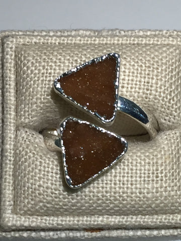 Two Triangle Brown Druzy Silver Ring