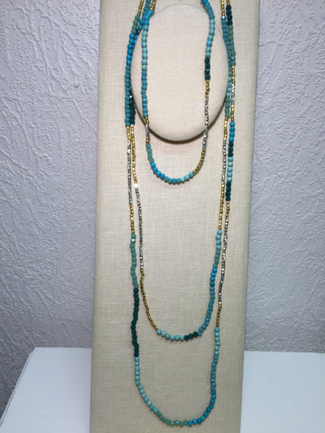 Turquoise Multi Layer Gold Silver Necklace