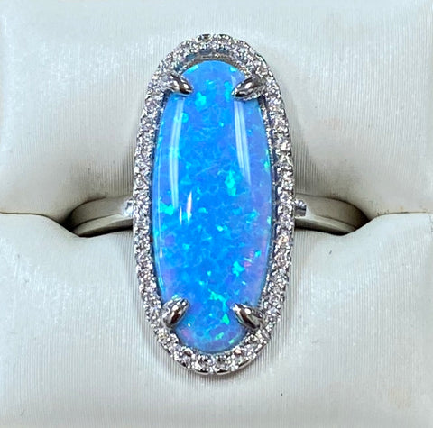 Blue Opal Cz. Sterling Silver Ring