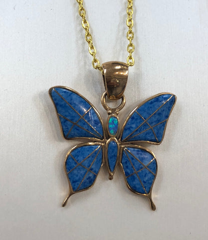 Inlay Bronze Butterfly Pendant