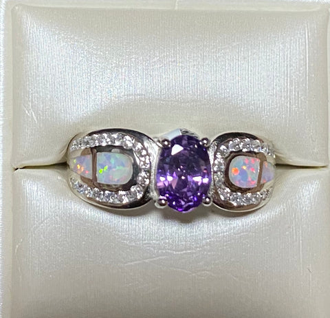 White Opal Amethyst Cz. Sterling Silver Ring