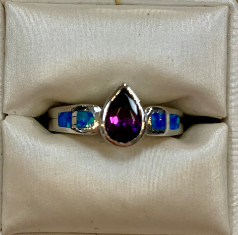 Blue Opal and Amethyst Ring