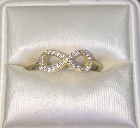 Infinity CZ 24K Yellow Gold Ring