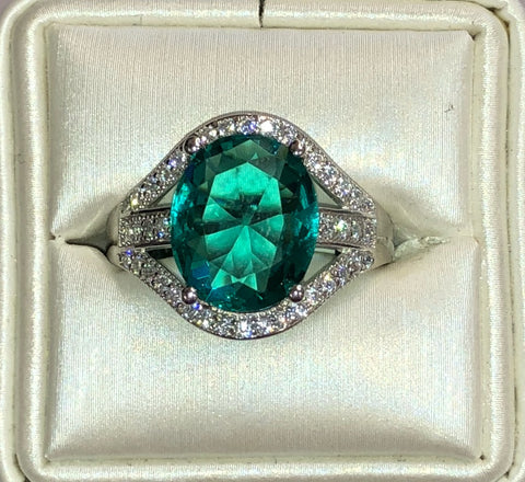 Paraiba Colored CZ Silver Ring
