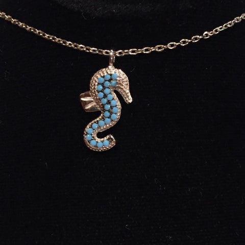 Turquoise Seahorse Silver Necklace