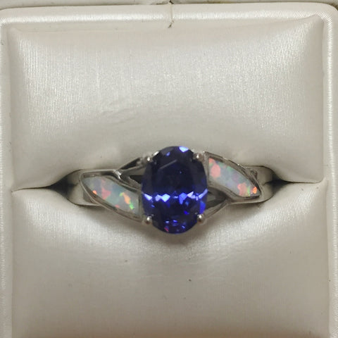 White Opal and Iolite Silver Ring