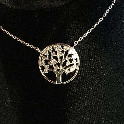 Tree of Life CZ  Silver Necklace