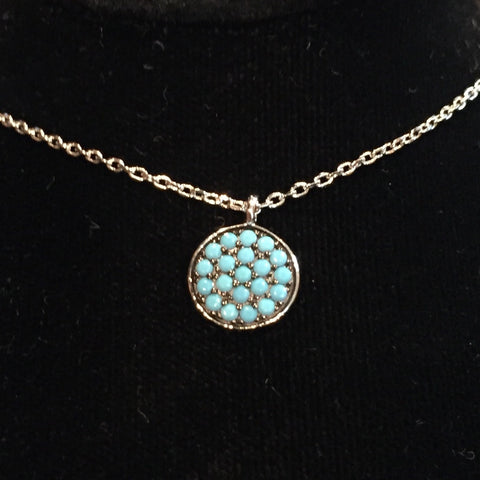 Turquoise Circle Silver Necklace