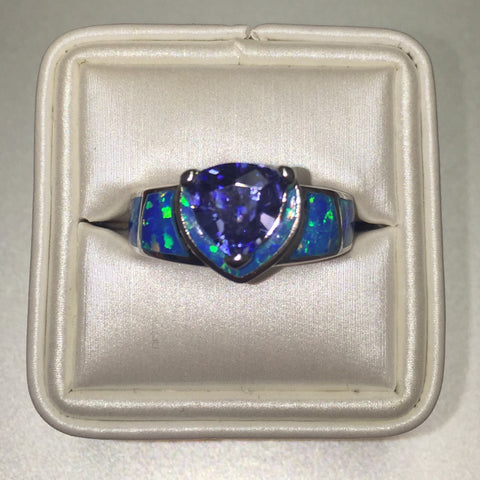 Triangle Iolite Blue Opal silver Ring