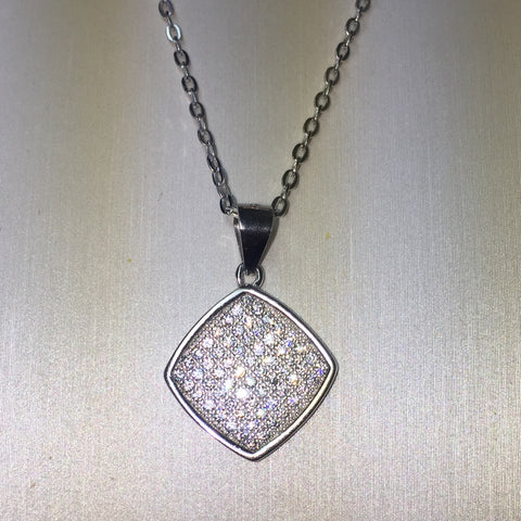 Square CZ Micro Pave Necklace