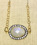 Moonstone White Topaz Gold Necklace