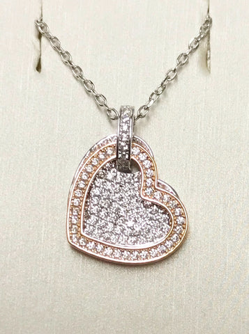 Heart CZ Rose Gold Silver Necklace