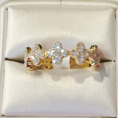 Clover CZ 24K Yellow Gold Ring