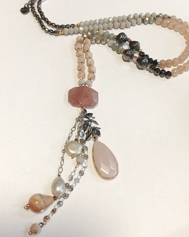 Peach Moonstone and Strawberry Quartz Long Necklace