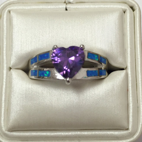 Amethyst Heart Blue Opal Silver Ring