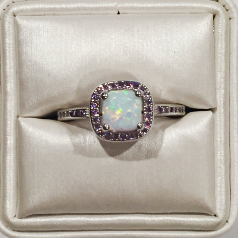 White Opal Amethyst Halo Silver Ring