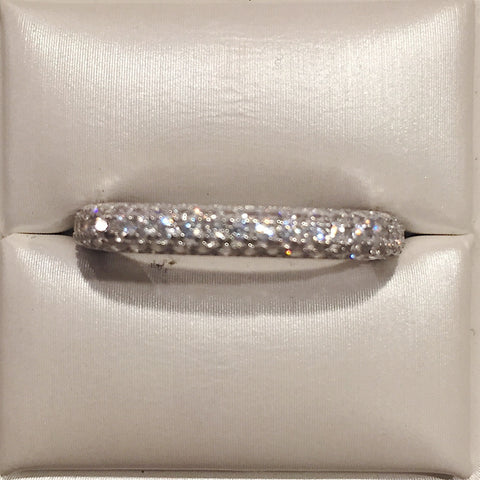 Square Eternity 24K White Gold CZ Ring