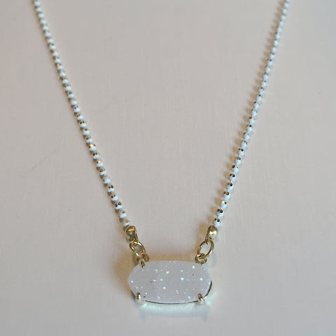 Bezel Set Druzy Necklace