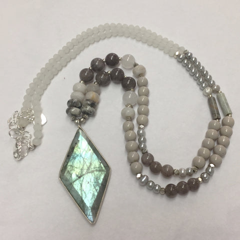 Labradorite and Beaded Silver Necklace