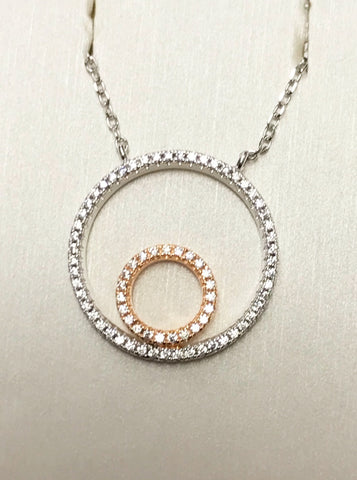 Circle CZ Rose Gold Silver Necklace