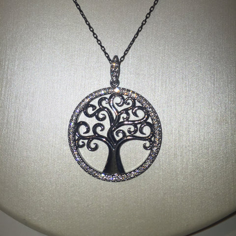 Tree of Life CZ 24K Gold Necklace