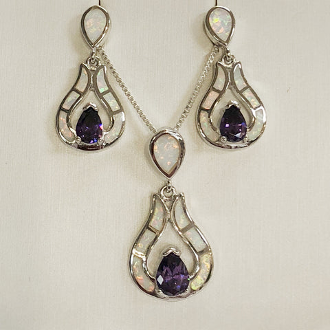 Amethyst White opal Set