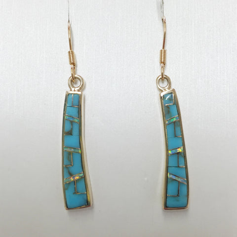 Long Tapered Inlaid Bronze Earrings