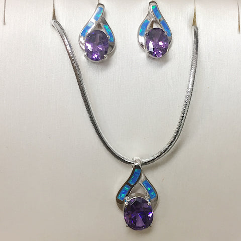 Amethyst Opal Necklace Earring Set