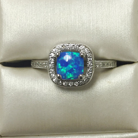 Blue Opal and CZ Silver Ring