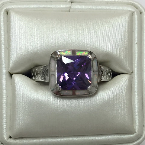 Amethyst White Opal Silver Ring