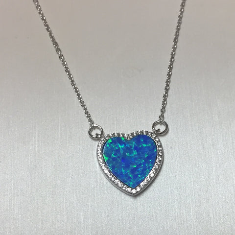 Blue Opal CZ Heart Silver Necklace