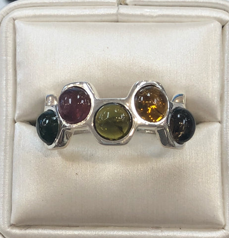 Watermelon Tourmaline Silver Ring