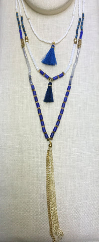 Lapis Mixed Bead Gold Tassel Long Necklace