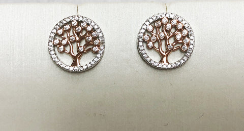 Tree of Life CZ Silver Rose Gold Earrings