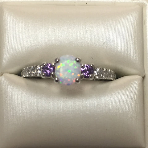 White Opal CZ and Amethyst Silver Ring