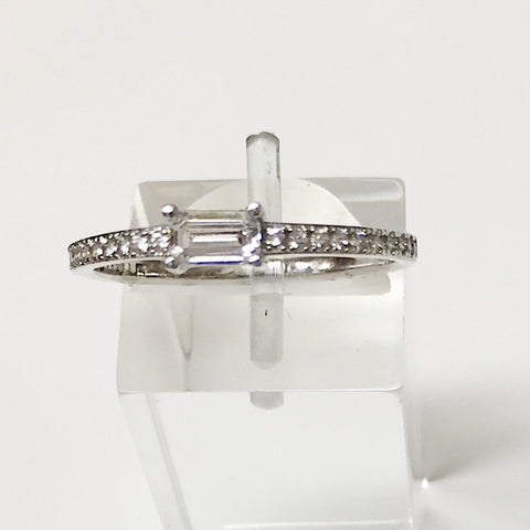 Baguette CZ 24K White Gold Ring