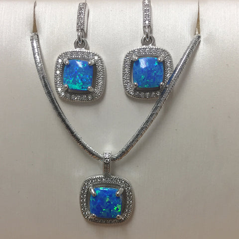 Blue Opal CZ Necklace Earring Set